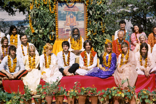 The Beatles and their wives at the Rishikesh in India with the Maharishi Mahesh Yogi in February of 1968