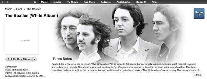 The Beatles (White Album) as it appeared for sale for the first time in Apple's iTunes store