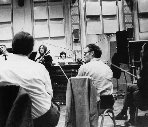 George Martin, John, Ringo and session musicians, Abbey Road Studios (1968)
