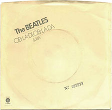 This 1976 45rpm sleeve design mimics the white album