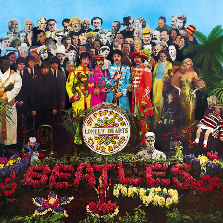 Peter Blake's iconic sleeve design for Sgt. Pepper's Lonely Hearts Club Band (1967).