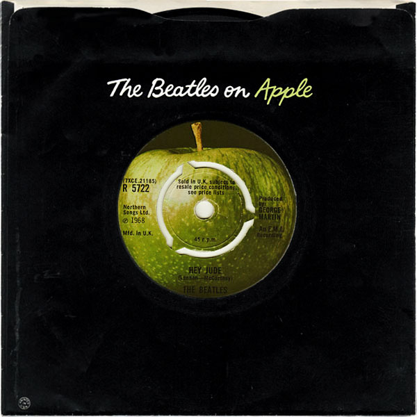 The Beatles Hey Jude 45 rpm was the first record released on Apple Records.