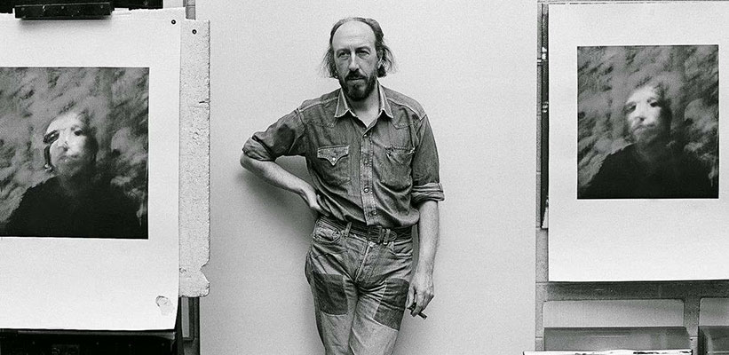 <strong>Richard Hamilton</strong> in his studio at 25 Hurst Ave. in Highgate, London 1970.  Photo: <em>Chris Morphet/REDFERNS</em>