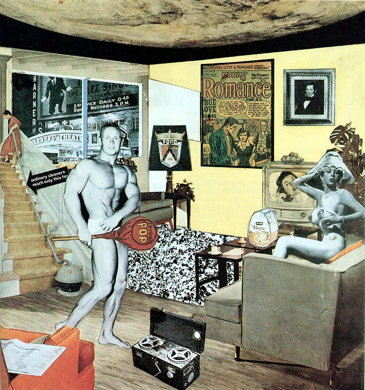 "Richard Hamilton's ""Just What Is It That Makes Today's Homes So Different, So Appealing?"" The 1956 collage is often referred to as the first example of Pop Art."