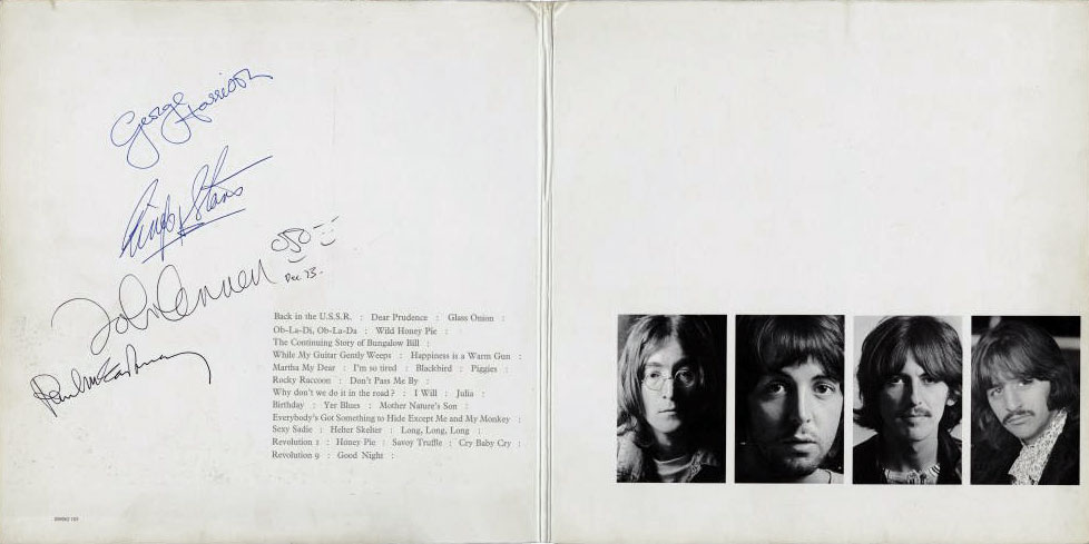 This signed copy of the Beatles White Album was sold at auction in 2013 for the sum of $223,822 USD..