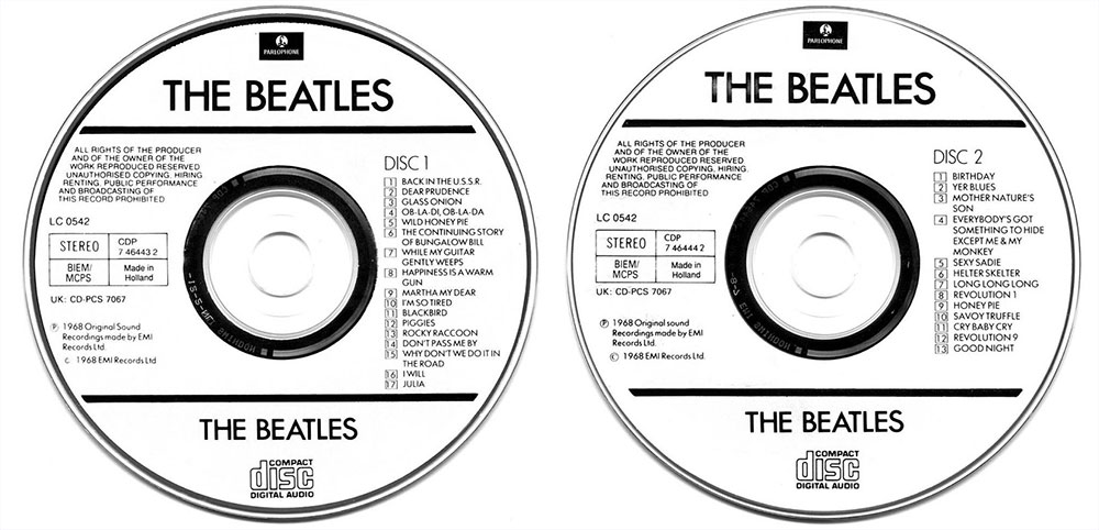 1987 Parlophone release of The Beatles on CD for the first time.